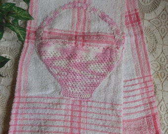 Pink Terry Bath Towel Crocheted Basket Pocket  Vintage at Quilted Nest