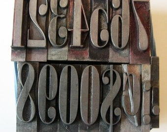 Vintage Metal Letterpress Type XL Onyx 72 pt Art Deco Numbers 15 Piece