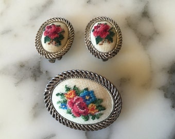 Tapestry Brooch and Earring Set . White Flower