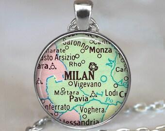 Milan map necklace, Milan map pendant, Milan necklace, Milan pendant, Milan Italy necklace, map jewelry map key chain key fob