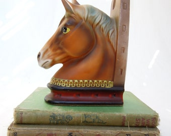 vintage horse head bookend.ceramic.midcentury.equestrian.animal.japan.library.tessiemay vintage