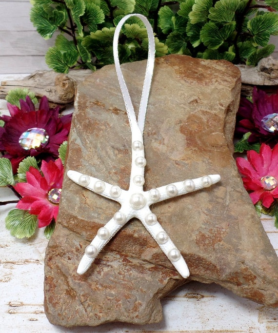 Pearl Starfish Ornament With White Ribbon - White Starfish - Home Decor - Beach Decor - Christmas