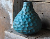 Teal Blue Stoneware Vase with Dimple Texture
