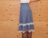 Reserved for Torie Vintage 70's Blur Clico Floral A-line Lace Boho Hippie Skirt Size Extra Small