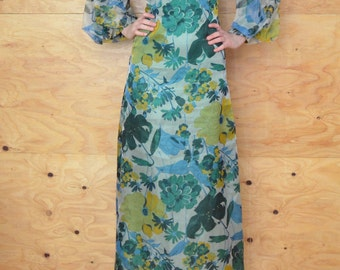 Vintage 60's Bold Green & Blue Floral Print Sheer Maxi Dress Gown Glamorous Look SZ S/M