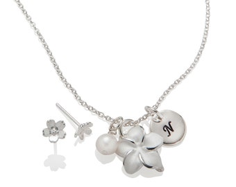 Personalized Flower Girl Jewelry Set Necklace Earrings 925 Sterling Silver