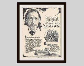 Robert Louis Stevenson, Vintage Art Print, English Teacher Gift, Educational Art, Classroom Decor, Literary Art, Man Cave Decor, Office Art