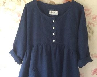 Linen Dress  Indigo Blue Washed Linen Long Prairie Dress Garden Pocket Made To Order