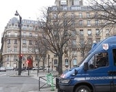 Paris Photography of Street Corner in Winter with Blue Police Car