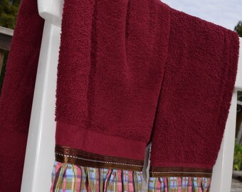 Colorful pink, blue, maroon plaid Towels set of 2 kitchen tea dish hand guest towel