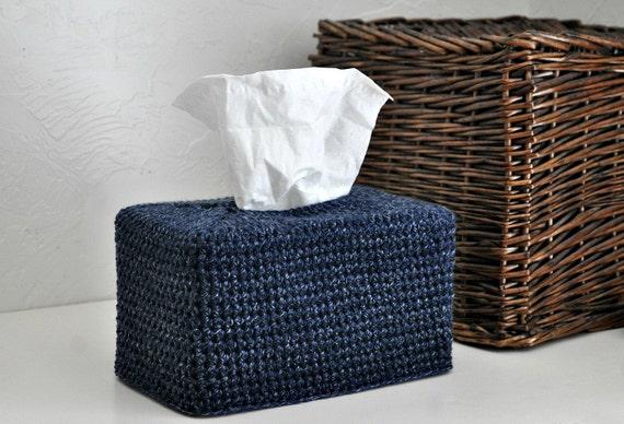 Dark Blue Tweed Modern Tissue Box Cover Nursery Decoration