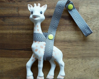 Sophie Saver/Toy Saver Leash- Black and white Chevron ribbon, different colour snaps available