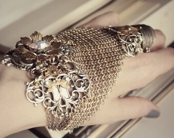 Gold, Silver, and Crystal Chainmaille Hand Bracelet - Cuff - Glove - Brass - Armor - Slave Bracelet - Fantasy - Medieval - Cosplay - Costume