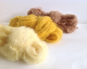 3 COLOURS to choose from MOHAIR YARN - plant dyed - Doll Hair 50gr