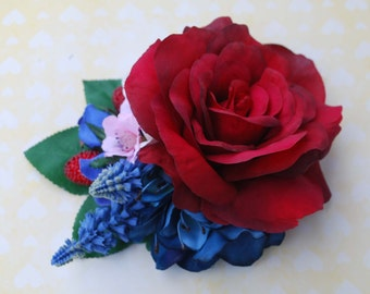 Unique red rose with hydrangea, blue blossoms, bluebell, cherry blossoms and berries  vintage wedding bridal hairflower hair piece