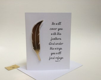 Christian Sympathy Card, He will cover you with his feathers, elegant gold embellished card, made on recycled paper comes with envelope seal