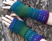 Fairy Peacock Hand Knit Fingerless Vegan Gloves in turquoise blue, denim, indigo, green and purple