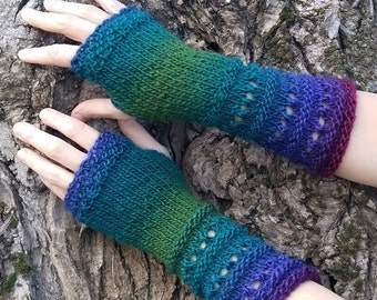 Hand Knitted Gloves Fingerless Vegan Gloves Blue Green Knit Mittens Long Arm Warmers Warm Winter Wrist Warmers Womens Unique Gift PEACOCK