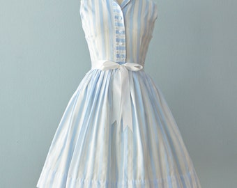 Vintage 1960s Day Dress...Cool Blue and White Cotton Summer Dress
