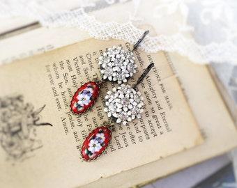 Russian Garden,Red Russian Rostov Finift Floral Enamel & Vintage White Enamel Clear Rhinestone Assemblage Earrings,Hollywood Hillbilly