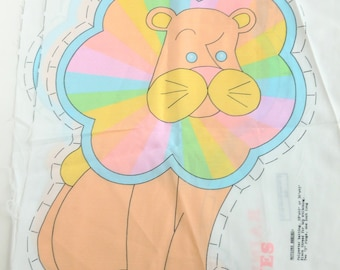 Rainbow Quilties Lion Sew and Stuff Pillow Project Fabric Panel Rainbow Pastel Colors DIY Sewing Kit