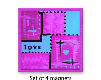Love magnets, fridge magnet set, abstract art magnets,  set of 4 decorative magnets, refrigerator magnets, kitchen decor, hot pink magnets