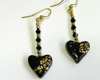Heart Dangly Earrings Heart Drop Earrings Black Heart Dangly Earrings Black Heart Drop Earrings Valentine's Day Earrings Hand Made