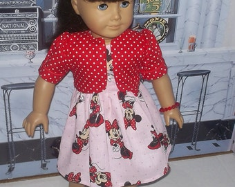 """Mickey Minnie Mouse dress, jacket complete outfit fits 18"""" American girl doll"""
