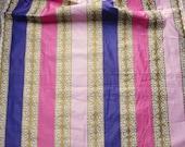 Vintage Elsa Schiaparelli Upholstery Fabric - Waverly Glosheen Cotton 'Lido Stripe' Shocking Pink Metallic Gold Purple 2 3/4 Yards  36 In W