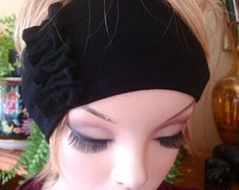 Womens headbands adult hairband black wide Headband yoga hairband with ruffle bow