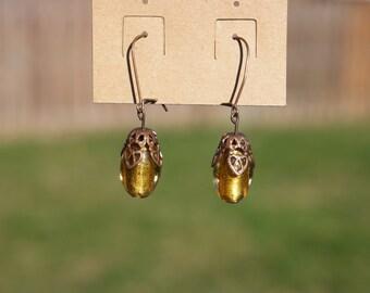 Vintaj Natural Brass Gold Glass Bead Drop Earrings