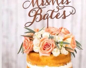 Mr mrs cake custom personalised wedding cake topper wooden