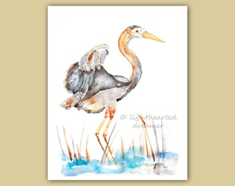 heron Print, Beach bird print, beach decor, beach nursery, coastal decor, beach house art, whimsical bathroom art, nautical print