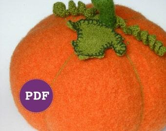 PDF-PATTERN. A Knit & Felt Wool Pumpkin Downloadable PDF Pattern