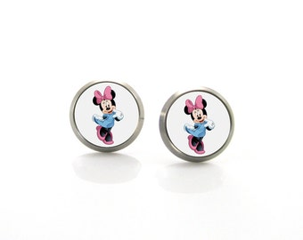 Minnie Mouse Titanium Post Earrings | Hypoallergenic Sensitive Stud | Titanium Stud Earrings | Funny Girls earrings | Children Earrings