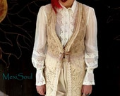 Tea Dyed Lace Vest, Altered Couture, Tattered, Boho Chic Vest, Vintage/Antique Trims, Hand Embroidery