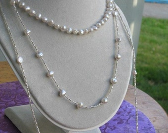 Sterling Silver and Pearl Necklace. marchessa