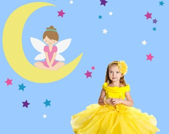 Fairy Stars Wall Sticker Decal, Girls FABRIC Decal, Reusable Non-toxic NO PVCs, A210