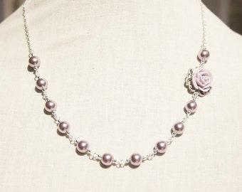 Handmade Lavender Flower Necklace Lavender Necklace Lavender Flower Pendant Swarovski Lavender Pearls Purple Wedding Lavender Bridesmaid