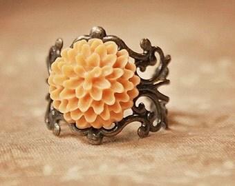 Handmade Orange Flower Ring Peach Resin Flower Ring Orange Ring Antiqued Gold Filigree Ring Peach Flower Ring Light Orange Flower Ring