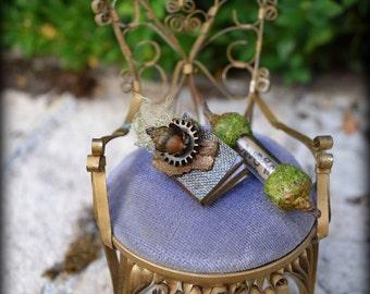 Tiny Handmade Miniature Woodland Faery Spell Book & Faery Acorn Scroll - Secrets of the Fae