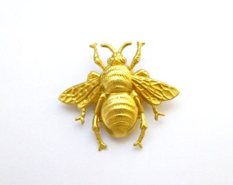 Gold Bee Brooch Bumblebee Lapel Pin Bumble Bee Honey Keeper Accessories Insect Garden Nature Lover Woodland Girlfriend Womens Gift For Her