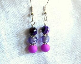 Purple Earrings Stack Earrings Shades Of Purple Beaded Earrings Bright Silver Earrings Surgical Steel Earrings Option