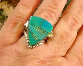 Native American Turquoise Zuni Sterling Silver Ring