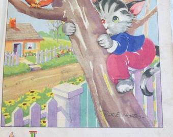 Vintage Ruth Newton Nursery Rhyme Book Print-Kitten