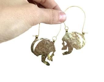 Skull earrings, hammered metal skull hoop earrings, day of the dead, folk art jewelry
