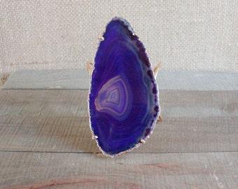Purple Agate Slice Statement Cuff Bracelet/ Purple Natural Stone/ Large Agate Slice/ Gemstone Natural Stone Jewelry Cuff Bracelet (BLD14)