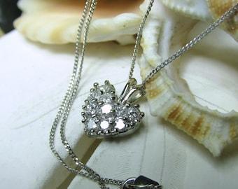 "14k Diamond Heart Necklace .50ctw White Gold 17"" 14k Chain"