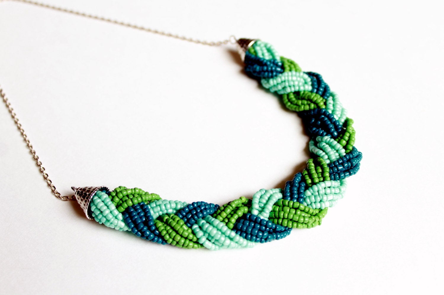 braided bead necklace 4 color options jewelry beaded