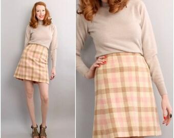 Tan plaid skirt | Etsy